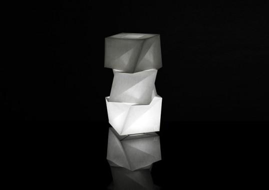 Issey miyake designs sustainable lighting sculptures made for Artemide issey miyake