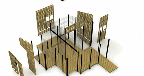 Modular refugee housing built from shipping pallets for 500 orta blu for Pallet house plans of i beam design