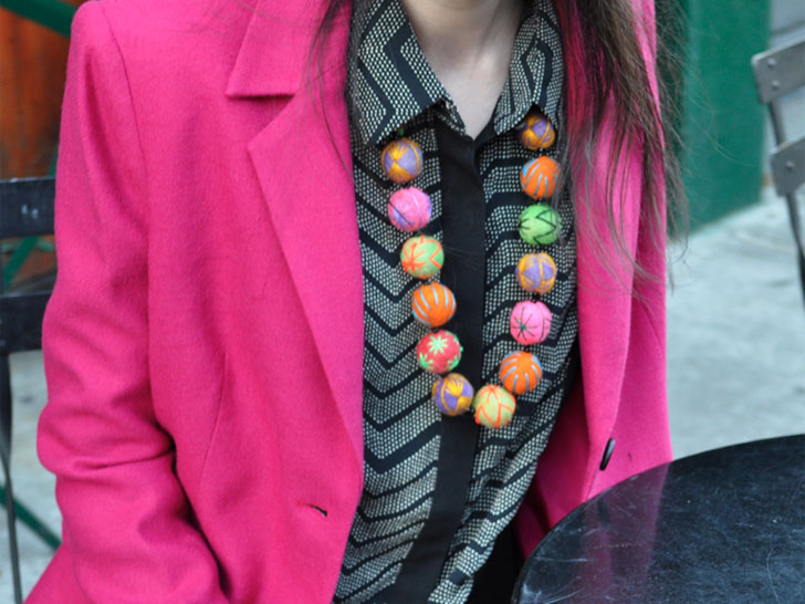 Carrie Parry Kahina Giving Beauty Design Fair Trade Pouf Necklace Orta Blu